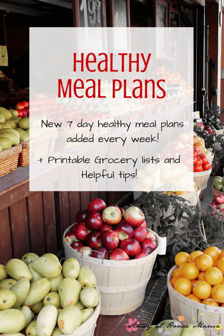 7 DAY Healthy Meal Plans - every week this blogger shares a new family-friendly meal plan with a printable grocery list!