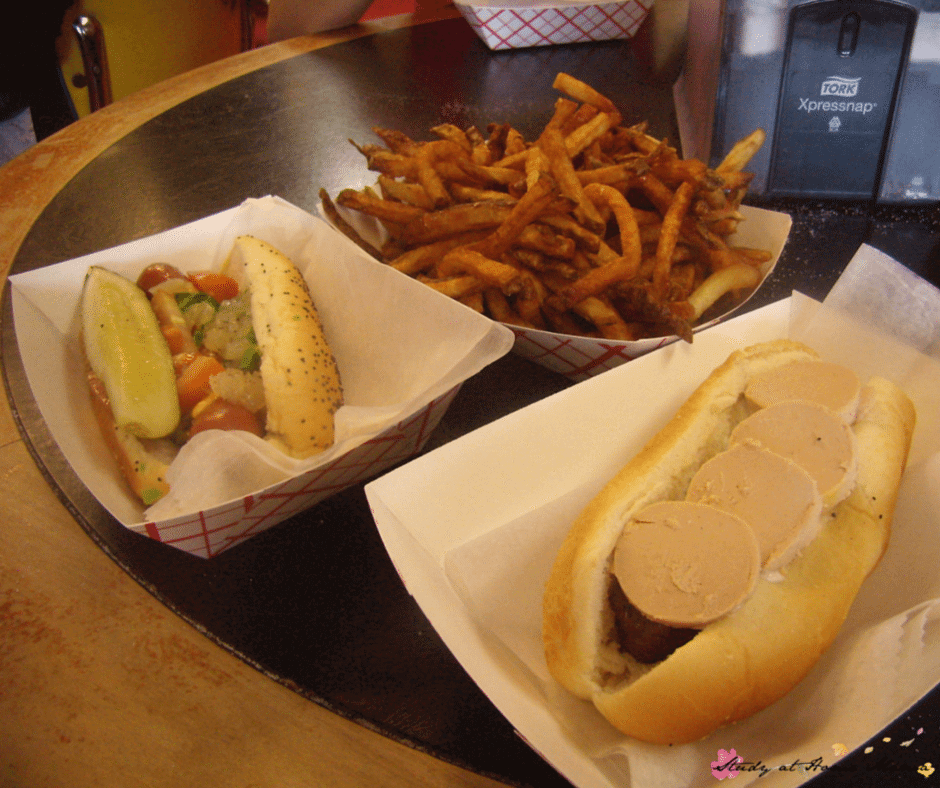 Amazing food at Hot Doug's - one of the Top Ten Chicago Restaurants for Foodies with Kids