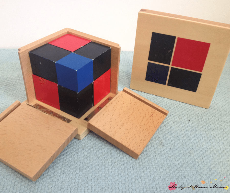 Binomial Cube, part of a Budget-priced Montessori Sensorial Materials Review (Part 2): You don't need to buy premium Montessori materials in order to expect quality. This Montessori teacher shares the materials she likes from discount Montessori retailers, and which Montessori materials to avoid!