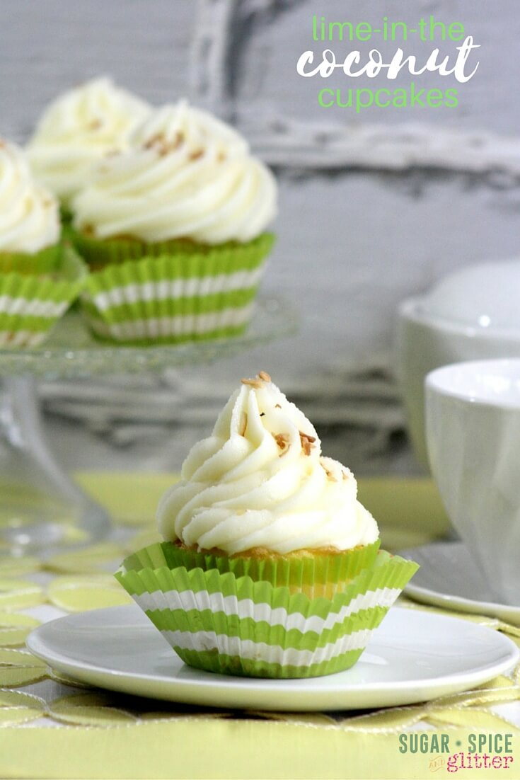 A delicious twist on coconut cupcakes - these lime coconut cupcakes are like a margarita in cake form! A sophisticated twist on cupcakes perfect for girl's night or your next summer barbecue dessert. You put the lime in the coconut and eat them both up!