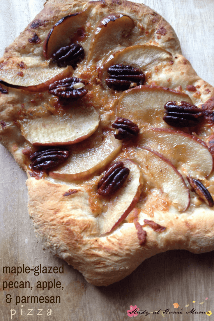 Maple-glazed pecans, apple, and parmesan pizza - delicious and easy homemade pizza recipe