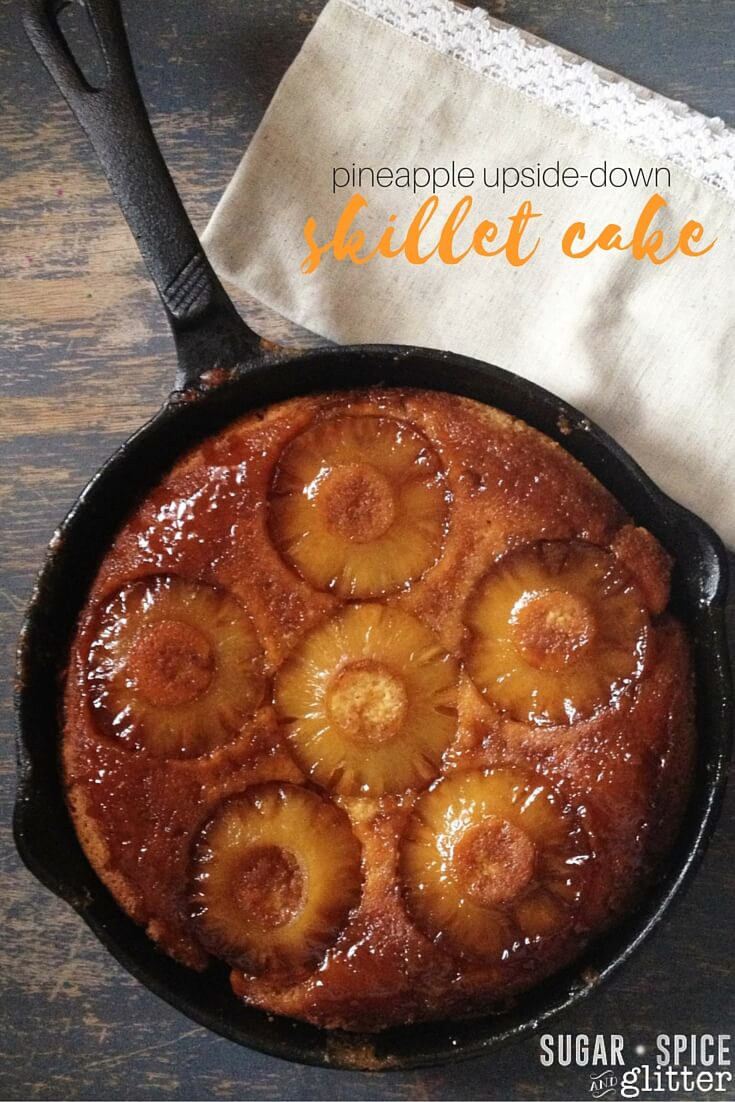 An easy, authentic pineapple upside-down skillet cake recipe - so easy, kids can make it! Seriously, you can see a 3 year old helping with every step of this recipe. I love that you can make and serve the skillet cake in the skillet.