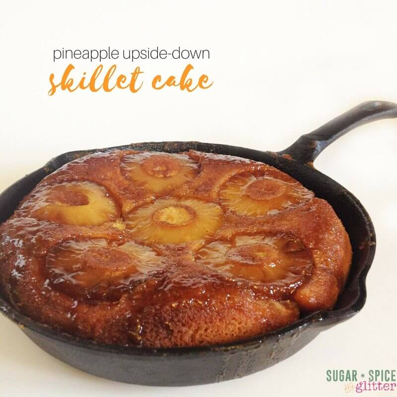 Pineapple Upside down cake in a skillet - what a fun twist on a classic summer dessert