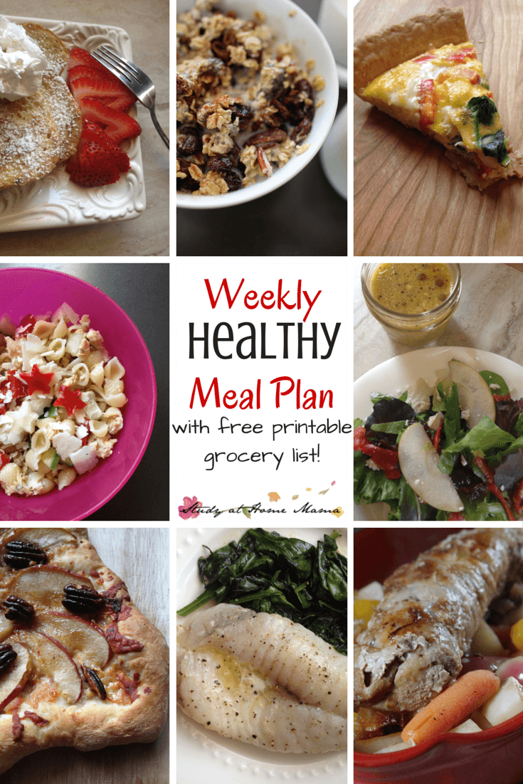 7-day Healthy Meal Plan with free printable grocery list and printable meal plan. Easy healthy recipes to keep your family happy and fed all week long