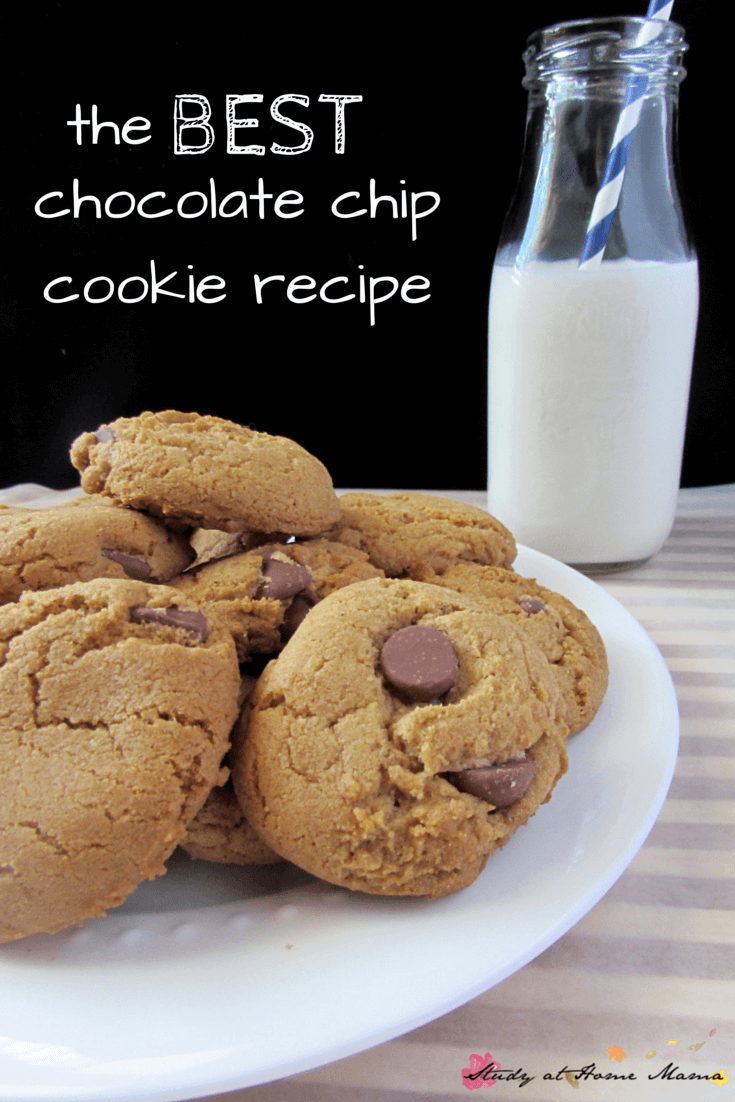 The BEST Chocolate Chip Cookie Recipe -- there are some ingredients in these chocolate chip cookies that I would have never guessed! Caramelly, chocolatey, buttery goodness!