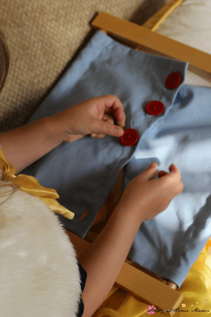 Montessori Practical Life Lesson - Teach Your Child How to do up buttons with the Montessori button dressing frame