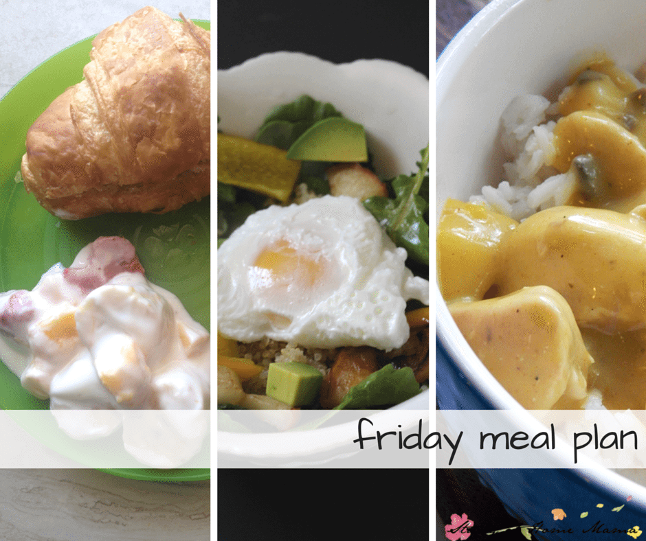 Friday healthy meal plan - croissant sandwiches for breakfast, buddha bowl recipe for lunch, and a quick chicken curry for supper.