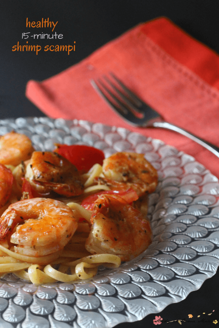 Easy healthy recipe for shrimp scampi on pasta. A quick supper idea that takes 15 minutes to whip together, this shrimp scampi recipe is full of flavour!
