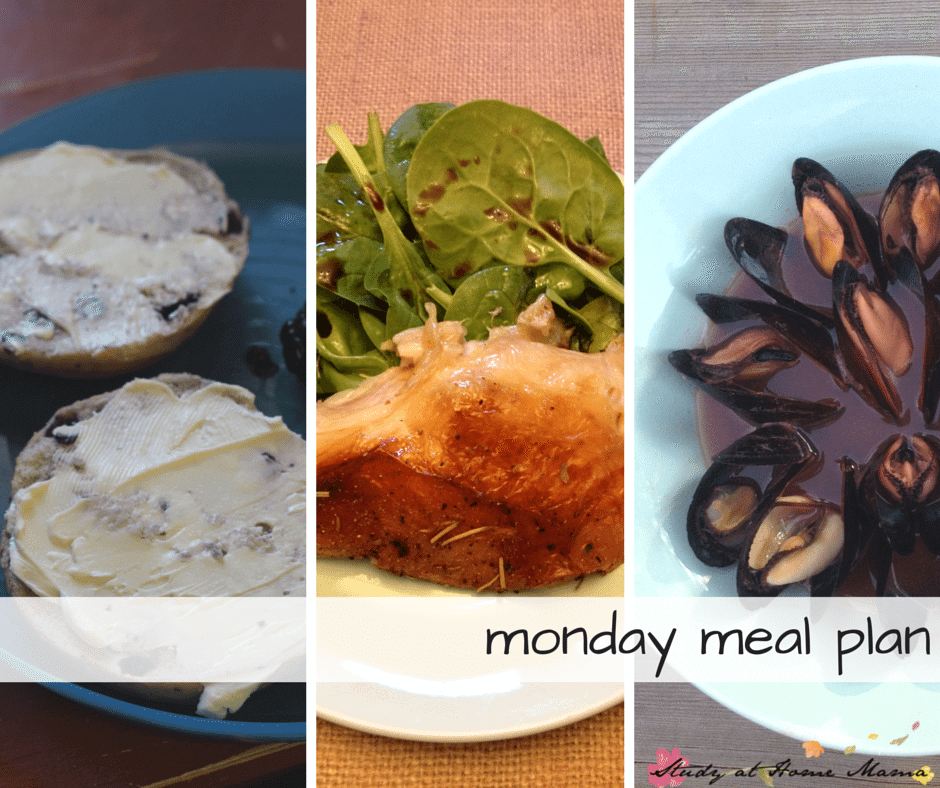 monday meal plan - part of a 7 day meal plan, new meal plans posted weekly! Healthy breakfast, roast chicken lunch, and mussels for supper