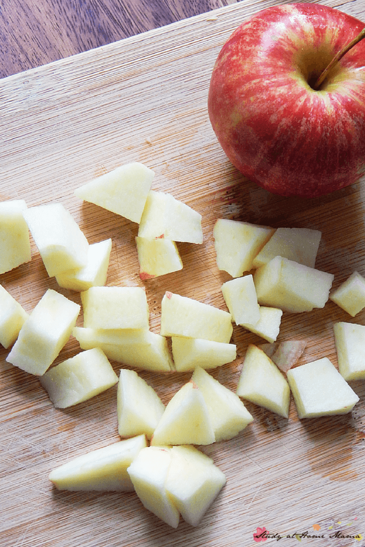 Chopping apples for a 15-minute curry recipe - the perfect quick supper idea