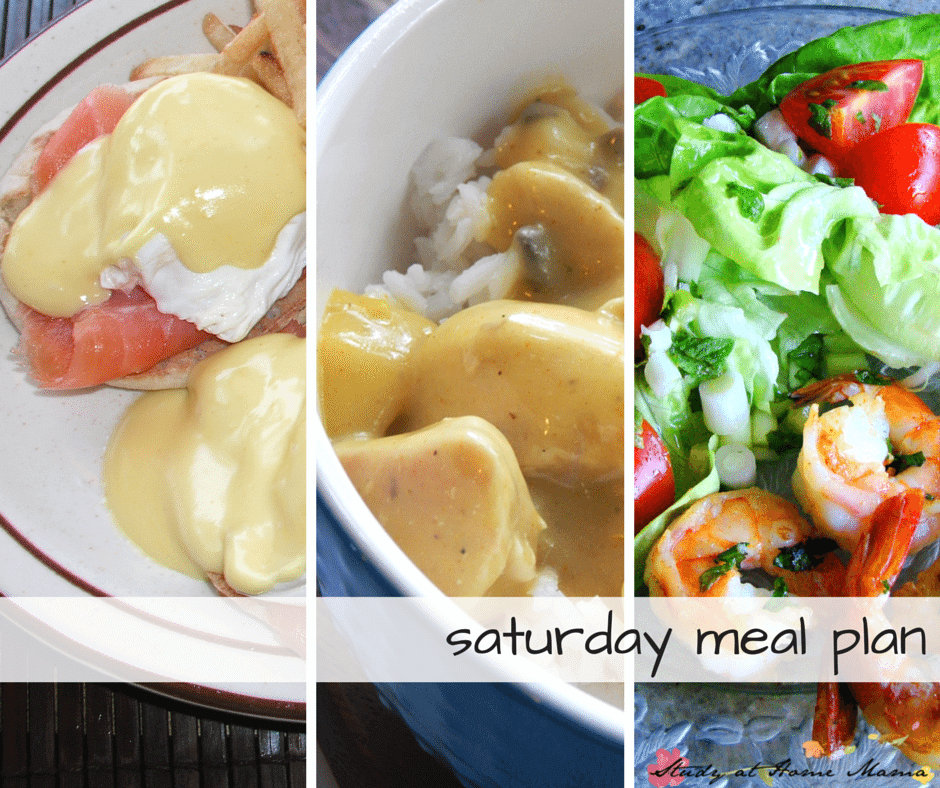 Healthy Saturday meal plan - indulge in some eggs benedict for breakfast, curry for lunch, and a simple shrimp salad for supper