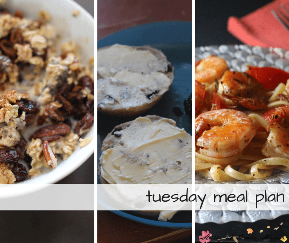 Tuesday meal plan - - part of a 7 day meal plan, new meal plans posted weekly! Overnight oatmeal makes for an easy breakfast, mini bagels and fruit salad for a quick lunch, and then a 15-minute shrimp scampi recipe for supper!