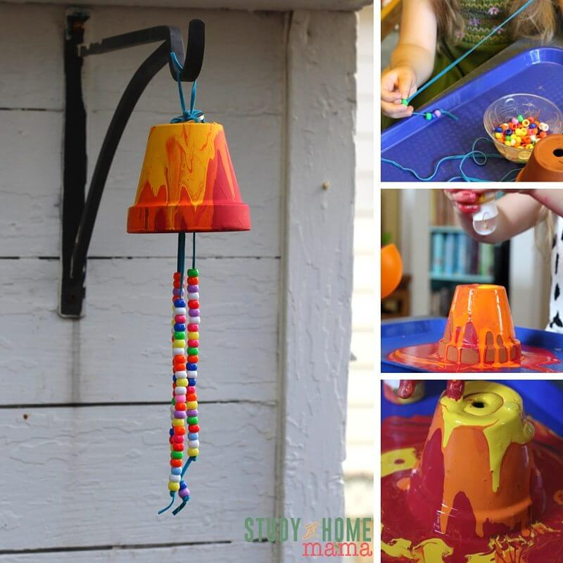 An easy-set-up kids craft idea - this garden wind chime will be beautiful in your garden or as a homemade gift