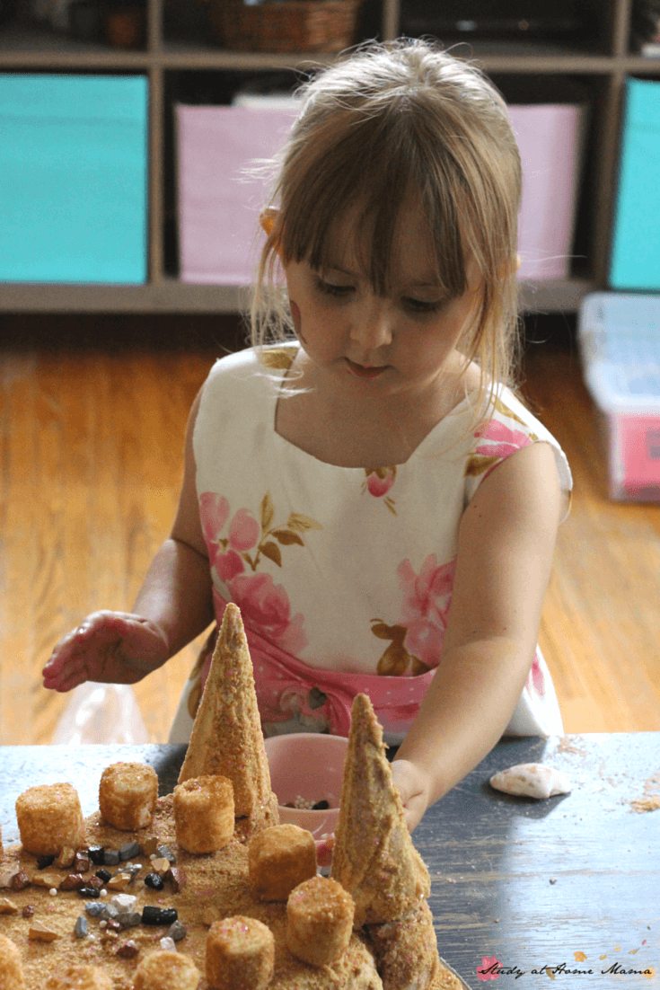 Kids Kitchen Sandcastle Cake - this little  girl made her own birthday cake. A homemade sandcastle cake for a mermaid birthday party