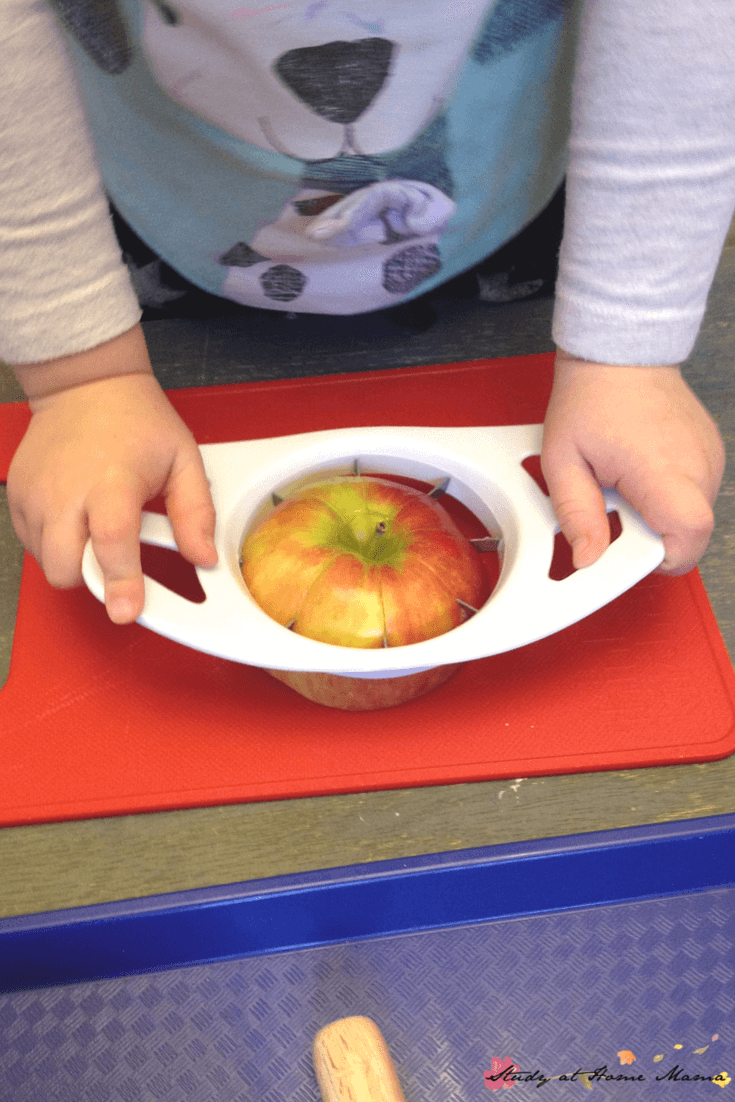 A few easy tweaks allow children to cut their own apples for snack time - check out this Montessori practical life lesson for tips!