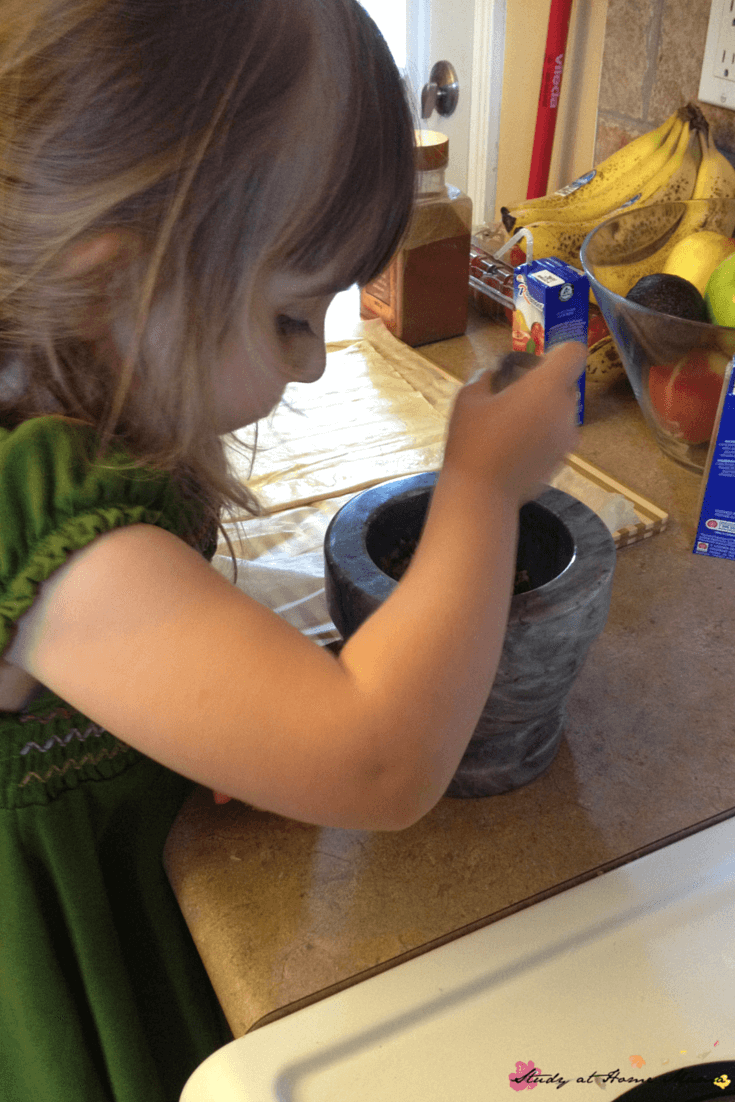 A mortar and pestle is one of our top 40 kids' kitchen tools
