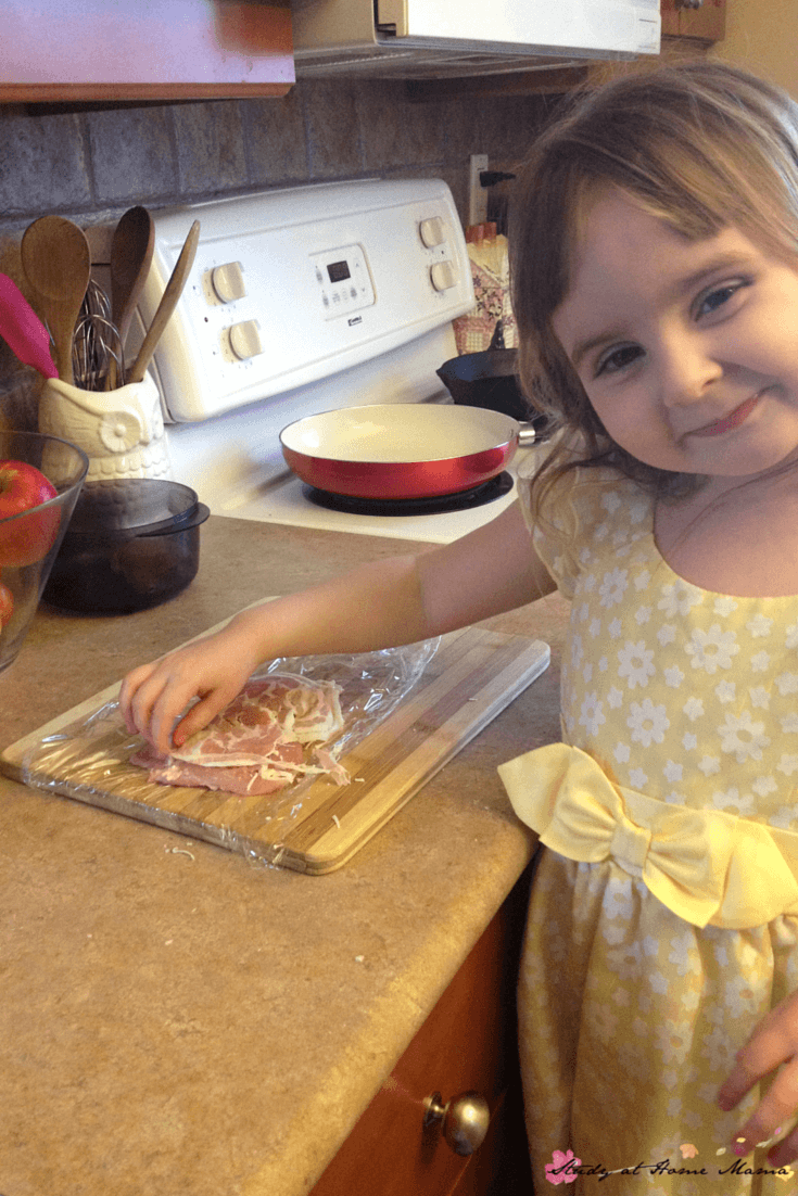 Miss G is so proud of her prosciutto and parmesan chicken inspired by Jamie Oliver's chicken recipe - an easy healthy recipe the whole family will love, and kids can help prepare!