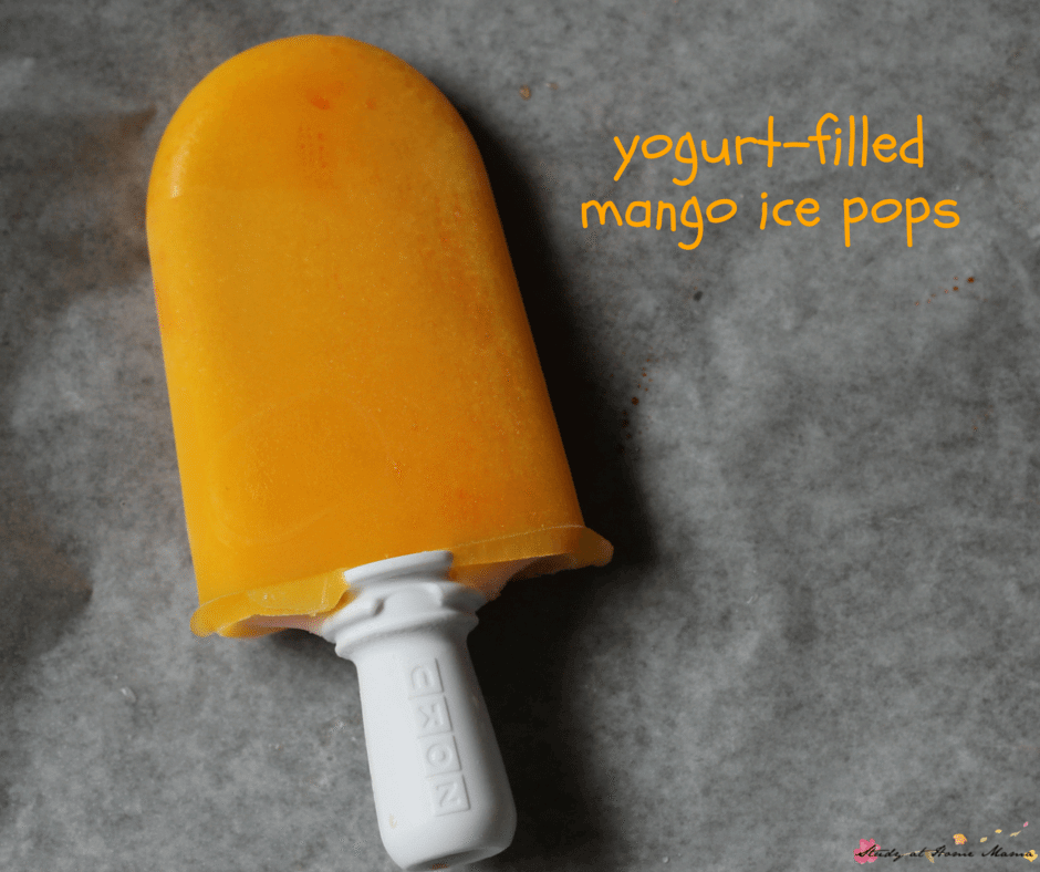 Yogurt-filled Mango Ice Pops: An easy healthy recipe for sugar-free popsicles that kids can help make!