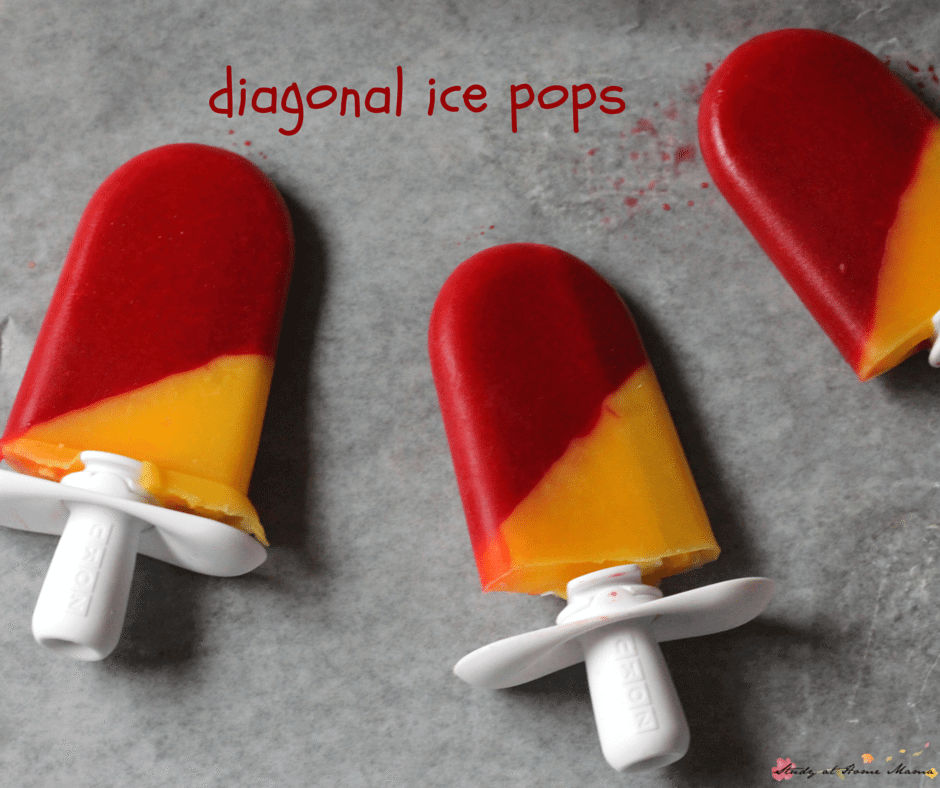 Mango-Raspberry Sugar-free Ice Pops: Learn how to make diagonal popsicles - so easy the kids can help make them!