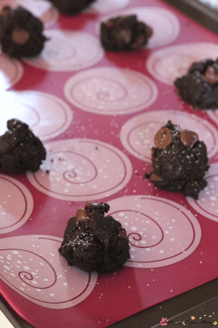 We love using baking mats for eco-reasons and to save on clean-up when making our double chocolate chip cookie recipe