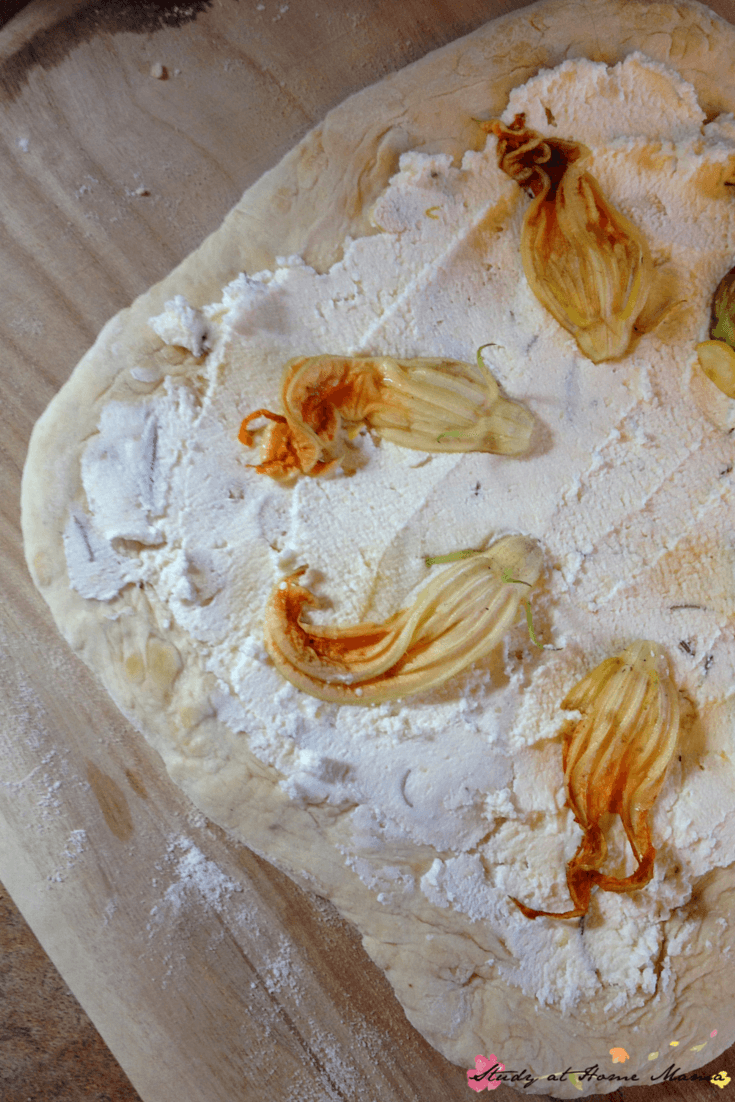 Zucchini flower pizza with a ricotta-Parmesan cheese spread - amazing easy healthy recipe for homemade pizza!