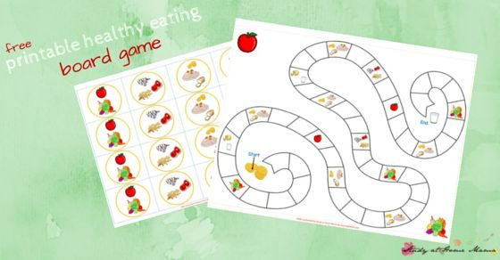 Kids Kitchen: Free Printable Board Game for Teaching Kids About Healthy Eating. Includes info on how much children should eat from each of the four food groups, and four different ways to play!