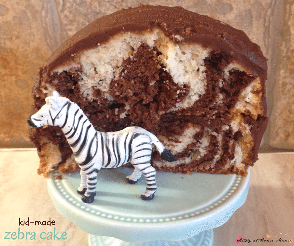 How to Make a Zebra Cake with Kids - a fun cake for kids to help bake, this zebra cake has wow factor without a lot of work!