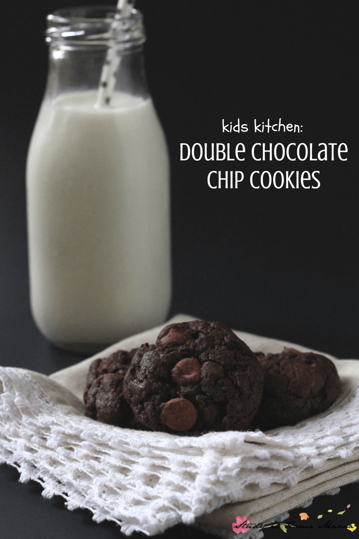 Kids Kitchen: Double Chocolate Chip Cookie Recipe made with brown butter - super easy and delicious cookie recipe