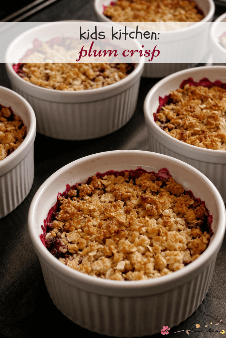 Kids Kitchen recipe for a decadent and healthy plum crisp! An easy healthy dessert recipe for all seasons