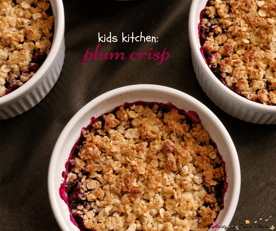 Kids Kitchen: Plum Crisp Recipe so easy that the kids can make it, so delicious that they'll want to eat it, and so healthy that you'll be okay with it!