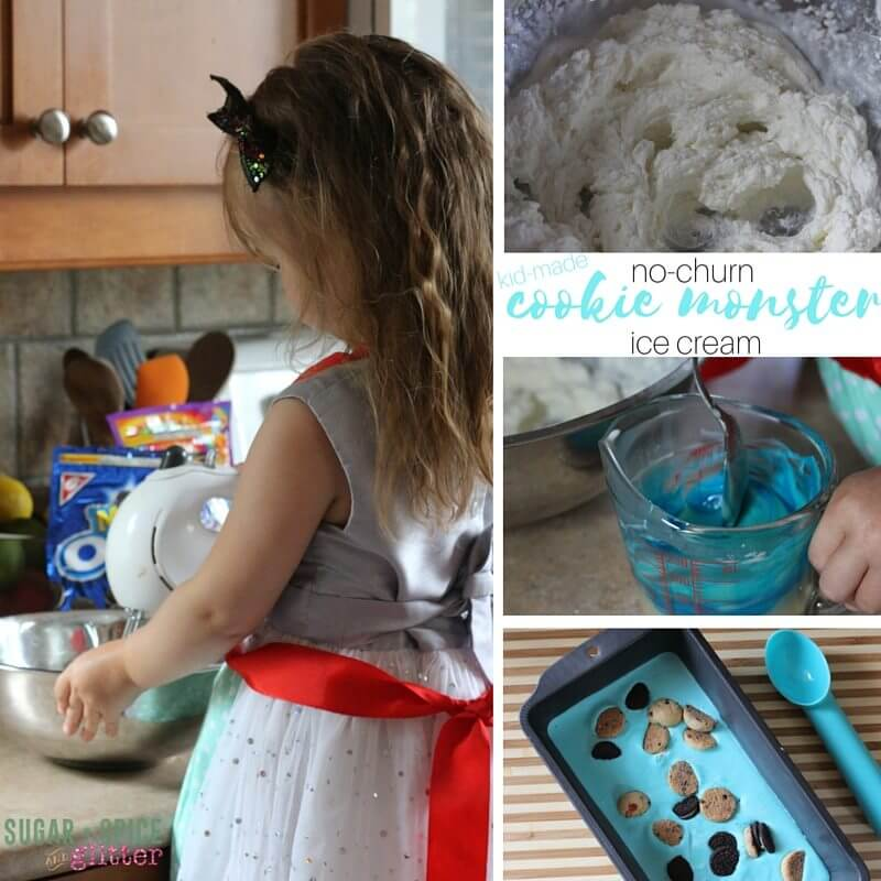 How to make no-churn cookie monster ice cream - an easy kids' kitchen recipe for summer dessert