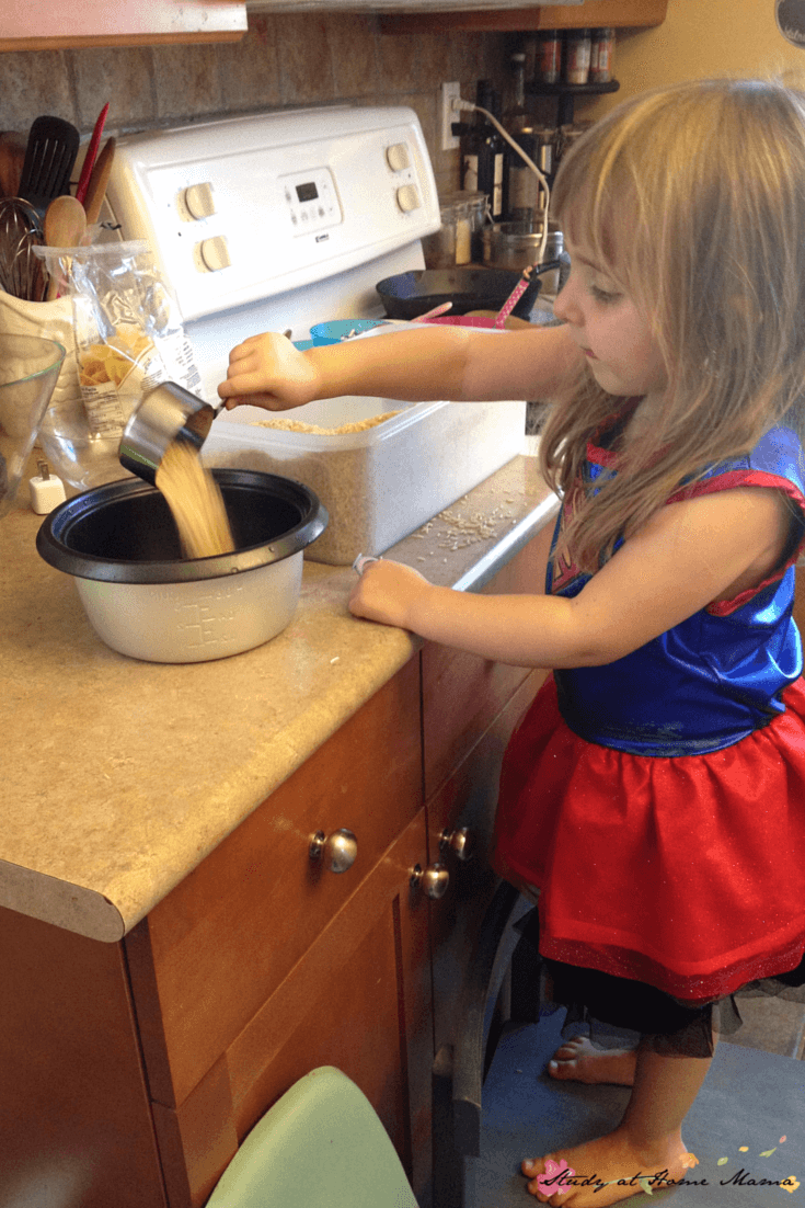 Kids Kitchen: Learning how to cook rice properly, a great kids kitchen activity that incorporates math and practical life skills