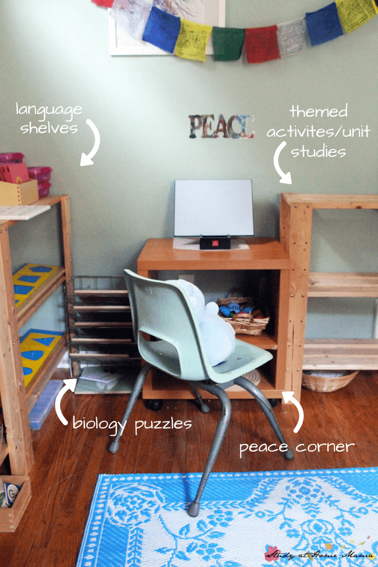 Our peace corner is an essential part of our homeschool room - check out the rest of our Montessori space!
