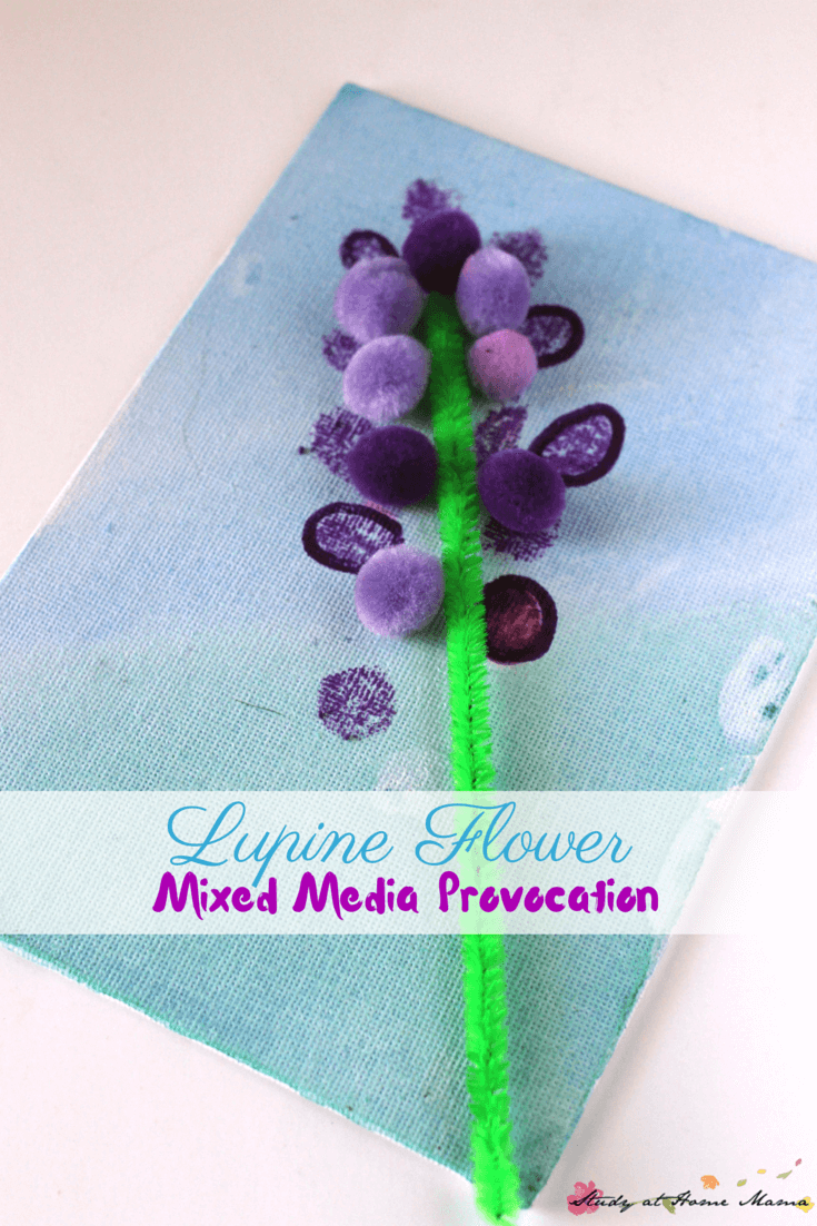 Kid's Craft Ideas: Lupine Flower Mixed Media Provocation inspired by Miss Rumphius - an easy flower craft for kids with lots of room for creativity.