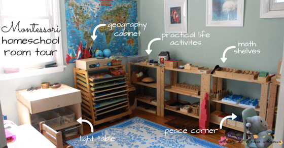 Montessori Homeschool Room tour - a sneak peek into our homeschool room. Find out how we make Montessori work for us!