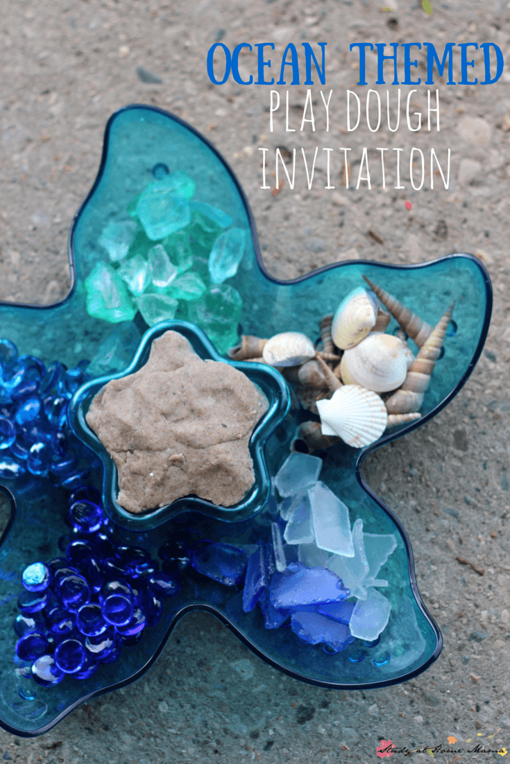 Ocean Themed Play Dough Invitation - two ways to present this sweet homemade play dough invitation - either an ocean play dough or a mermaid play dough. Encourage kids to explore early math and literacy concepts while engaging in a fun sensory activity for kids!