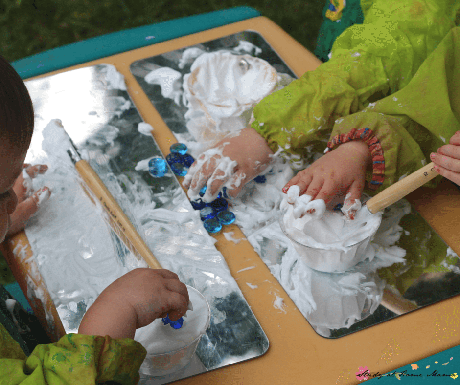Messy fun: This Shaving Cream Cloud Painting Sensory Activities for Children is easy to clean and a delight for the senses, while learning about clouds