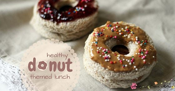 Healthy lunch box idea for a donut-themed lunch - include a donut-inspired sandwich and fun snacks, and a free lunch box note printable in the donut theme!