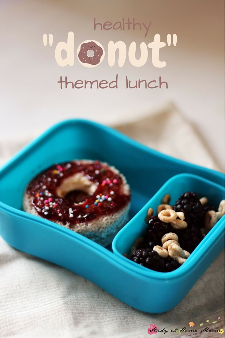 Healthy Lunch Box Idea for a Donut-inspired lunch. Includes a free lunch box note printable following the donut theme!