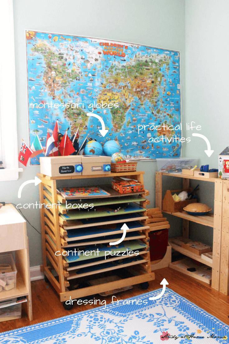 Sneak peek into our Montessori room - including where we deviate from Montessori to make Montessori work for us