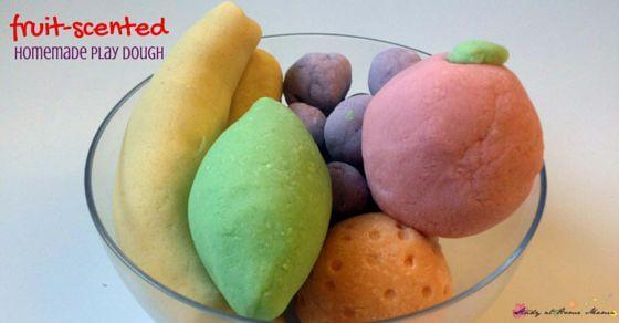 Fruit-Scented Homemade Play Dough - an easy recipe you can make with ingredients you already have on hand, no special trips to the grocery store required. She really shares 10 different fruit play dough recipes, plus a free printable so you can make homemade play dough whenever you want!