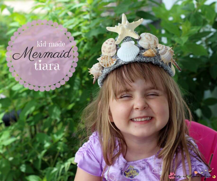 Kid-Made Mermaid Tiara - a gorgeous DIY tiara for a mermaid costume or mermaid party. One of many awesome mermaid play and kids craft ideas on this blog.