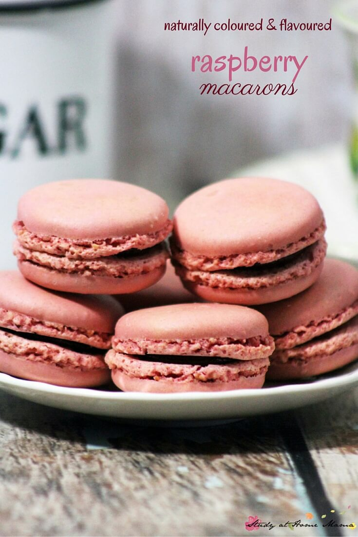 Homemade Raspberry Macarons - naturally colored and flavored macaron cookies. An easy to follow recipe with tips on how to get a perfect batch of homemade macarons!
