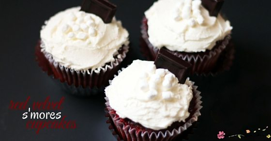 Red Velvet S'mores Cupcakes - rich, chocolate cake (dye-free) with a perfect marshmallow-cream cheese frosting. An easy dessert recipe with a huge wow factor and amazing taste.