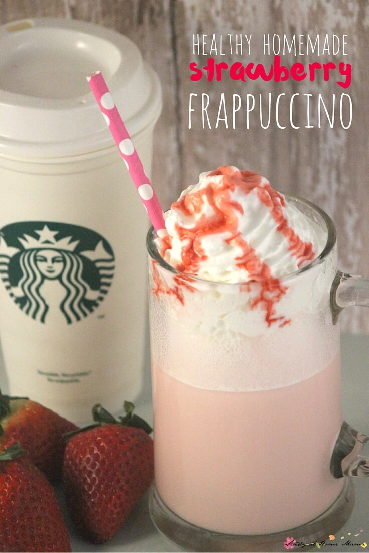 Homemade Strawberry Frappuccino - 2 Recipes; One for a Healthy Strawberry Frappuccino and one for a slightly more indulgent version. These yummy copycat Starbucks recipes save you money and calories!