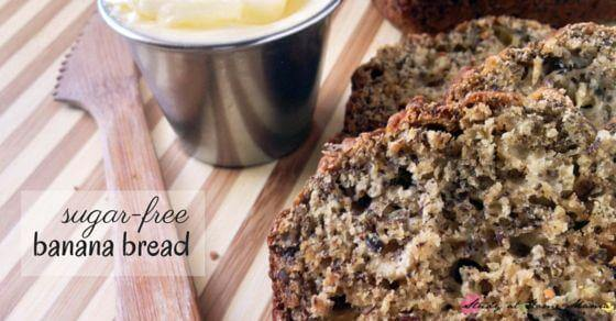 Sugar-free Banana Bread Recipe - an easy healthy recipe that tastes just like the homemade banana bread mom used to make, just without the sugar! Packed with protein, these are a great breakfast alternative or lunch box idea!