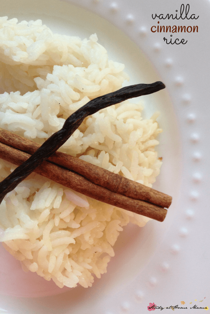 Easy Healthy Recipe for Vanilla Cinnamon Rice - a perfect side dish for everything from spicy meals to simple, quick meals