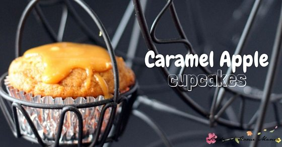 Caramel Apple Cupcakes - a delicious and indulgent fall cupcake for parties, entertaining friends, or just enjoying with a cup of tea. Inspired by caramel apples, these caramel apple cupcakes and sweet and refreshing