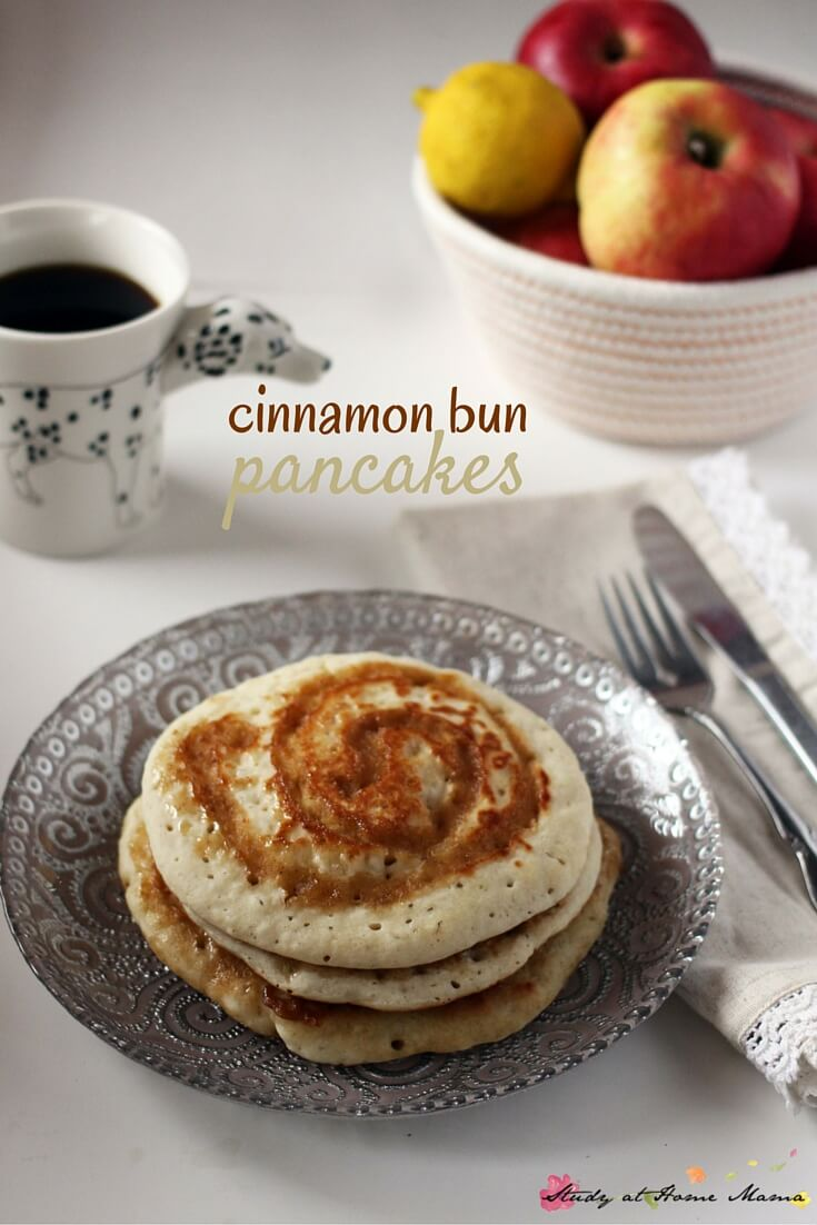 Cinnamon Bun Pancakes Recipe - a delicious and indulgent breakfast option when you want something just a bit special. Ready in less than 10 minutes, you can make these on a laid-back weekend, or for a weekday pick-me-up.