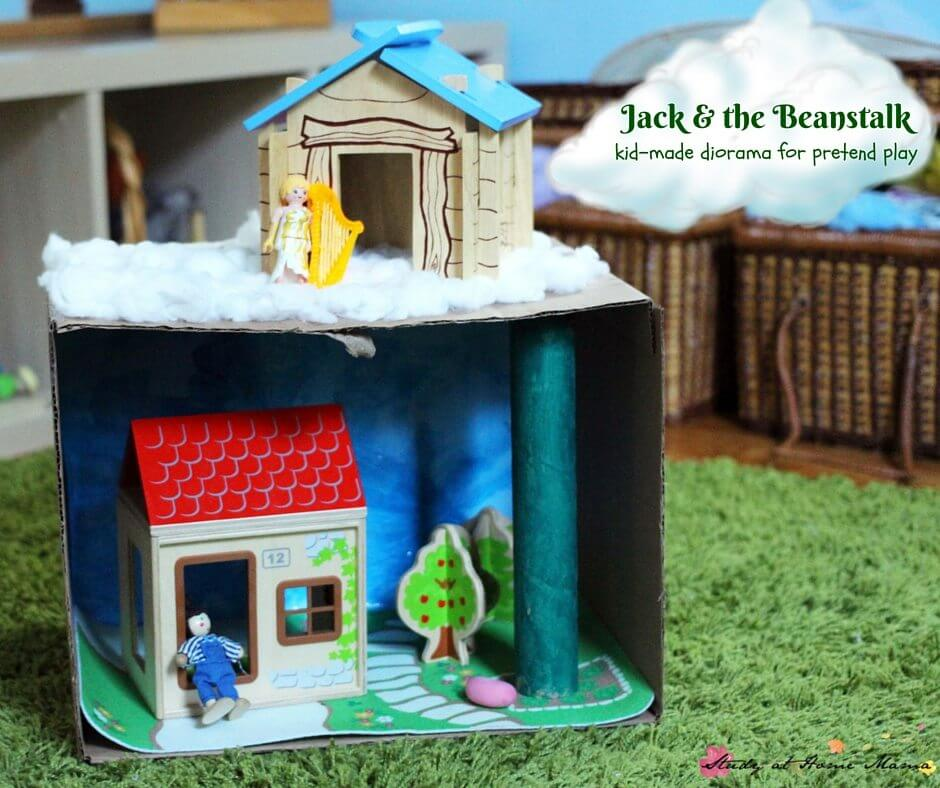 Jack & the Bean Stalk Craft: Kid-made Diorama Craft for Pretend Play, a great Jack and the Beanstalk activity to try after reading the story